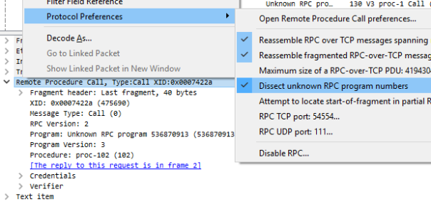 ONC RPC in Wireshark